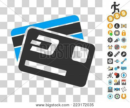 Dash Credit Cards icon with bonus bitcoin mining and blockchain icons. Vector illustration style is flat iconic symbols. Designed for cryptocurrency apps.