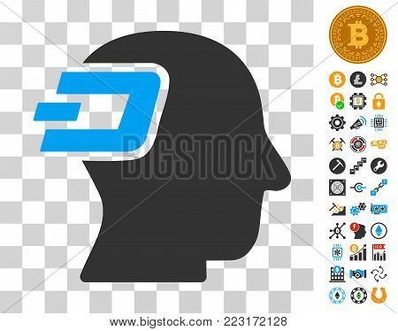 Dash Imagination icon with bonus bitcoin mining and blockchain clip art. Vector illustration style is flat iconic symbols. Designed for blockchain websites.