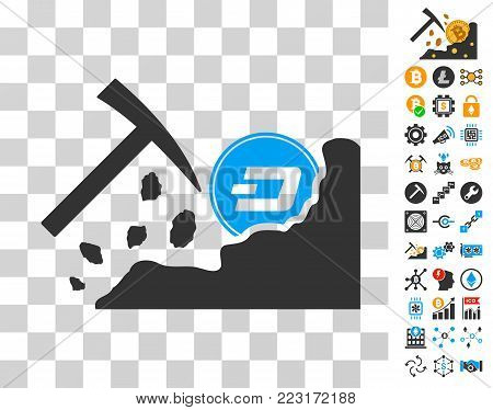 Dash Mining Hammer pictograph with bonus bitcoin mining and blockchain pictographs. Vector illustration style is flat iconic symbols. Designed for bitcoin software.