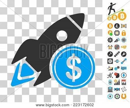 Dollar Rocket icon with bonus bitcoin mining and blockchain symbols. Vector illustration style is flat iconic symbols. Designed for crypto currency apps.