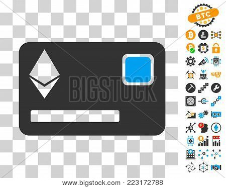 Ethereum Credit Card pictograph with bonus bitcoin mining and blockchain graphic icons. Vector illustration style is flat iconic symbols. Designed for crypto-currency apps.