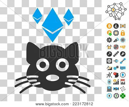 Ethereum Crypto Kitty icon with bonus bitcoin mining and blockchain pictographs. Vector illustration style is flat iconic symbols. Designed for crypto currency websites.
