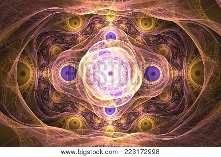Beautiful fractal wallpaper black and colorful geometric shapes illustrate space universe magic frequency explosion galaxy or galaxies. Fractal.