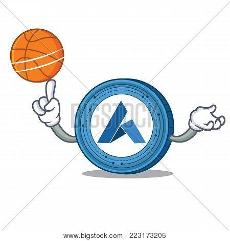 With basketball Ardor coin character cartoon vector illustration