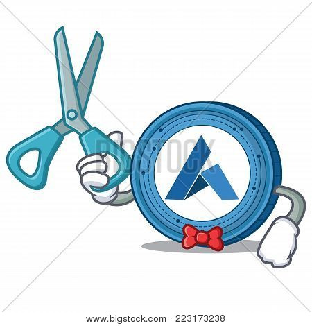 Barber Ardor coin character cartoon vector illustration