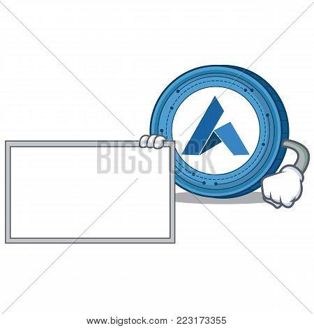 With board Ardor coin character cartoon vector illustration