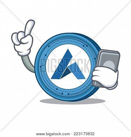 With phone Ardor coin character cartoon vector illustration