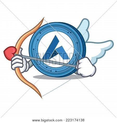 Cupid Ardor coin character cartoon vector illustration