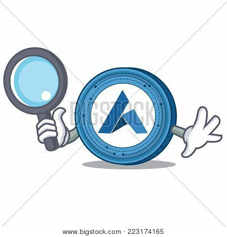 Detective Ardor coin character cartoon vector illustration