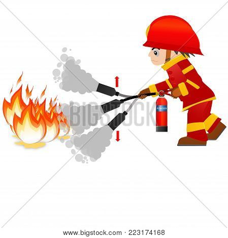 Extinguish fire. Fireman hold in hand fire extinguisher. Isolated on background. Protection from flame.  Powder from nozzle.A man demonstrating how to use a fire extinguisher.