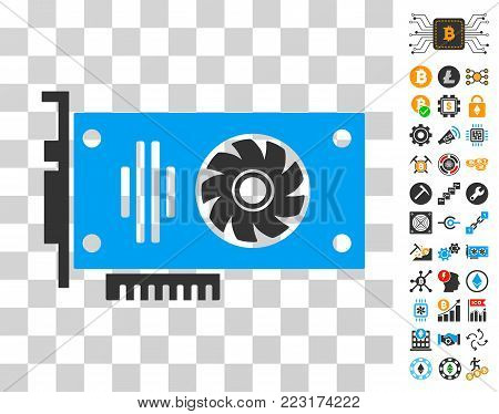 Video Gpu Card pictograph with bonus bitcoin mining and blockchain pictographs. Vector illustration style is flat iconic symbols. Designed for cryptocurrency websites.