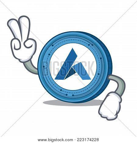 Two finger Ardor coin character cartoon vector illustration
