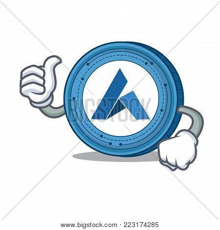Thumbs up Ardor coin character cartoon vector illustration