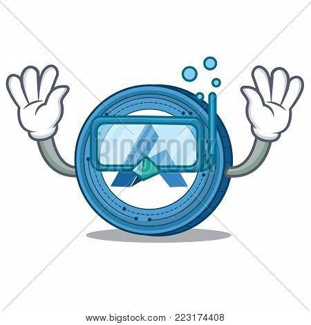 Diving Ardor coin character cartoon vector illustration