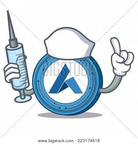 Nurse Ardor coin character cartoon vector illustration