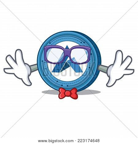 Geek Ardor coin character cartoon vector illustration