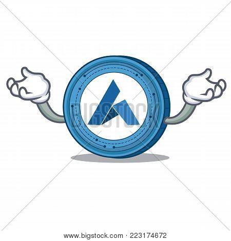 Hand up Ardor coin character cartoon vector illustration