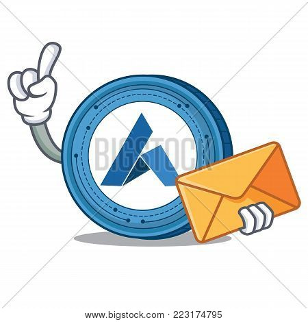 With envelope Ardor coin character cartoon vector illustration