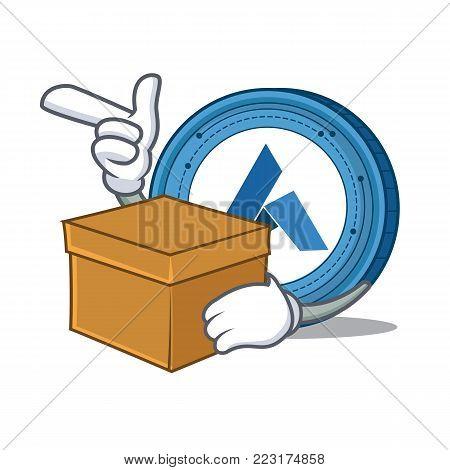 With box Ardor coin character cartoon vector illustration