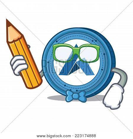 Student Ardor coin character cartoon vector illustration