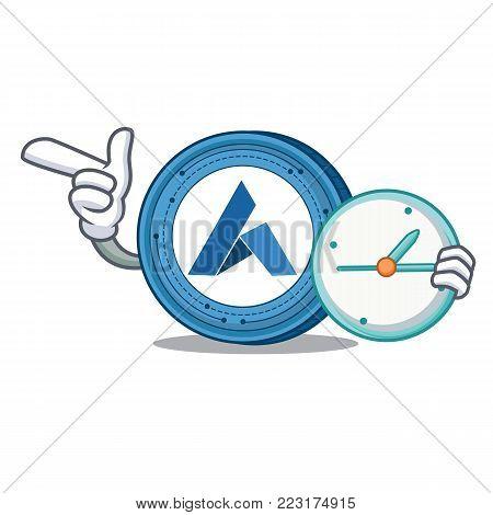 With clock Ardor coin character cartoon vector illustration