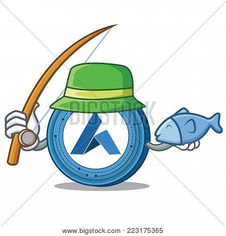 Fishing Ardor coin mascot cartoon vector illustration