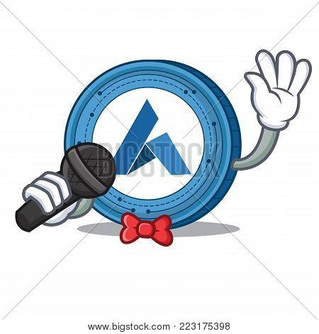 Singing Ardor coin mascot cartoon vector illustration