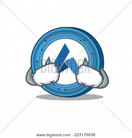 Crying Ardor coin mascot cartoon vector illustration