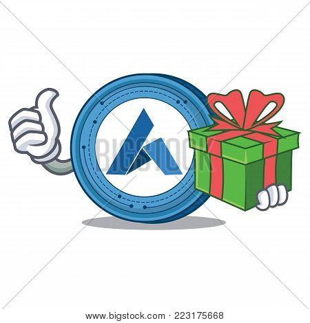 With gift Ardor coin mascot cartoon vector illustration