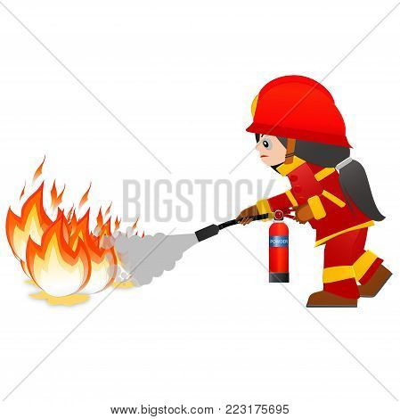 Extinguish fire. Fire woman hold in hand fire extinguisher. Isolated on background. Protection from flame. Powder from nozzle.A woman demonstrating how to use a fire extinguisher.