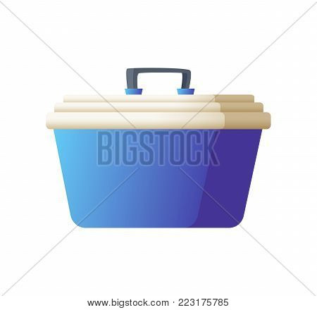 Freezer bag in blue color. Small handy fridge for travel or beach vacation. Vector illustration isolated on white background.