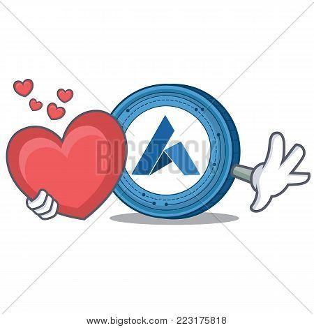 With heart Ardor coin mascot cartoon vector illustration