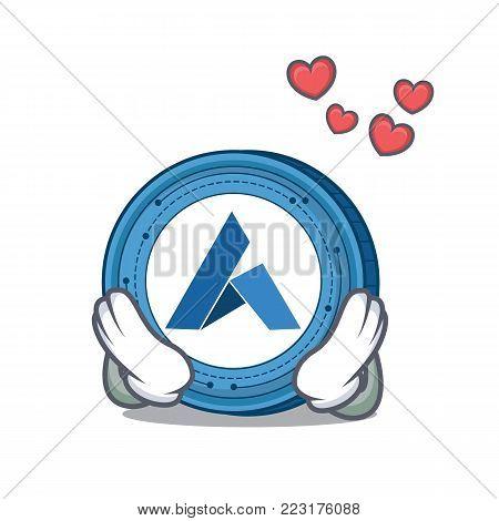 In love Ardor coin mascot cartoon vector illustration