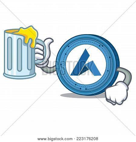 With juice Ardor coin mascot cartoon vector illustration