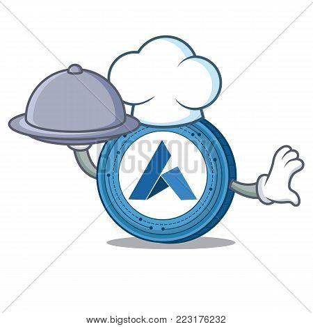 Chef with food Ardor coin mascot cartoon vector illustration