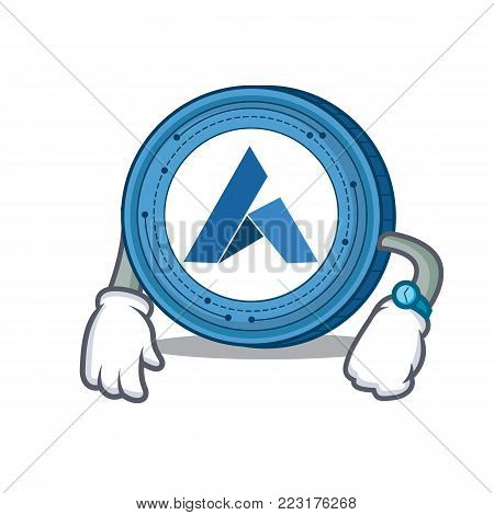 Waiting Ardor coin mascot cartoon vector illustration