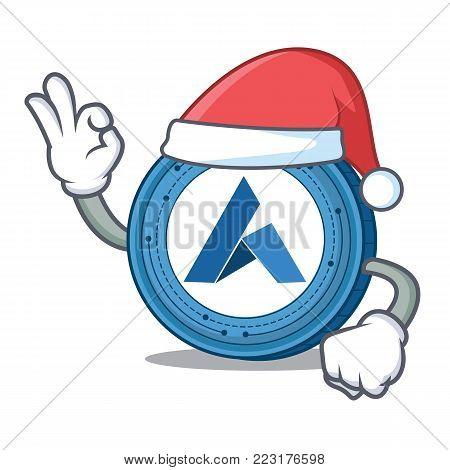 Santa Ardor coin mascot cartoon vector illustration