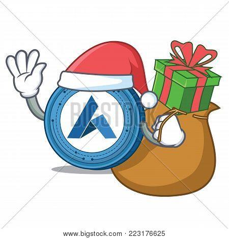 Santa with gift Ardor coin mascot cartoon vector illustration