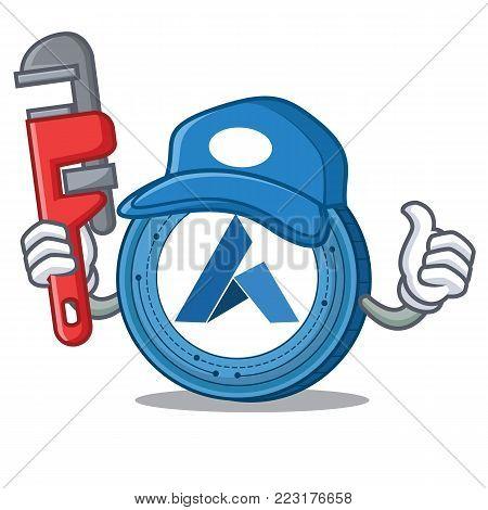 Plumber Ardor coin mascot cartoon vector illustration