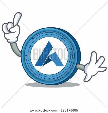 Finger Ardor coin mascot cartoon vector illustration