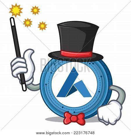Magician Ardor coin mascot cartoon vector illustration