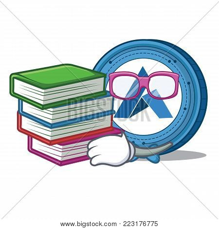 Student with book Ardor coin mascot cartoon vector illustration