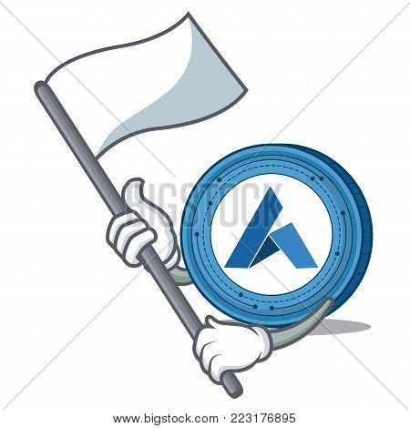 With flag Ardor coin mascot cartoon vector illustration