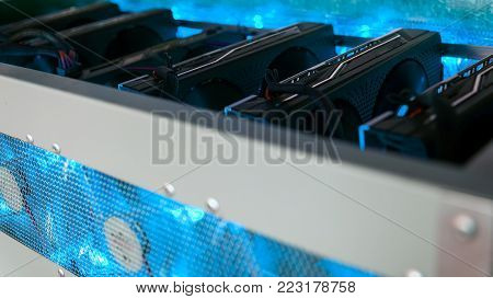 Сomputer quipment  graphic cards for crpytocurrency mining, close up