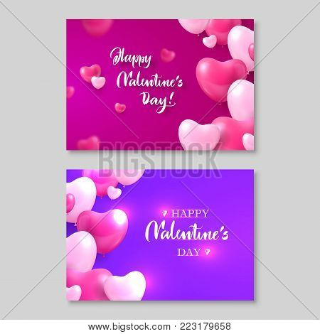Two gift certificates, happy valentines day, heart bubbles around. Vector illustration, romantic cards, shining elements on pink and purple background with inscription
