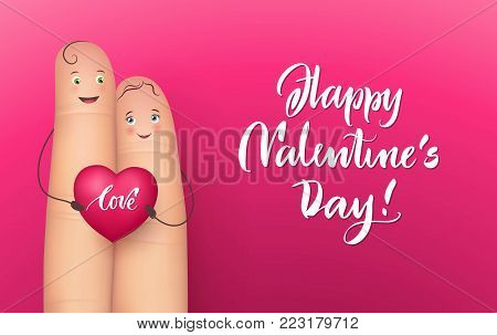 Pair happy fingers holding heart love lettering, realistic, red background. Vector illustration of sense message. Concept image of romance, tenderness, feeling