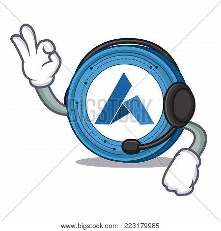 With headphone Ardor coin mascot cartoon vector illustration