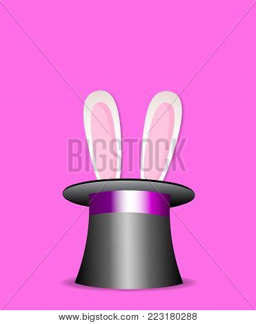 Cute cartoon pink and white  rabbit ears appear from the magic top hat isolated on pink background. Vector illustration, icon, clip art for greeting card design.