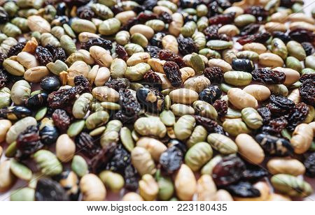 Mixed nuts, natural products, variation of nuts and grain with beans