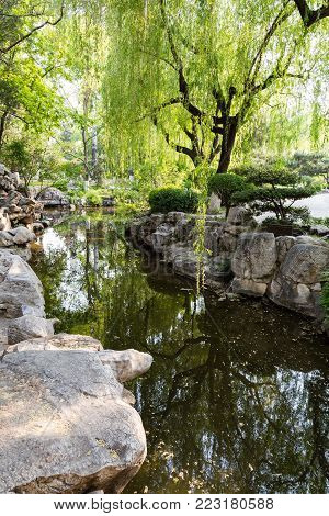The park of Baotu Quan, also called the Best Spring in the World in the heart of Jinan city, Shandong, China